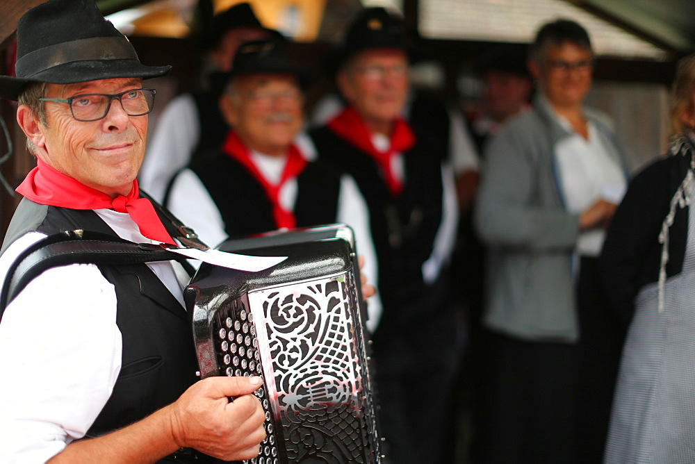 Accordion folk band, Old Domancy craft festival, Haute-Savoie, France, Europe