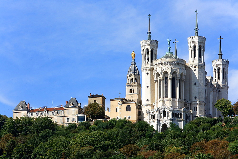 Basilica of Notre-Dame de Fourviere with its four crenellated octagonal towers, Lyon, France, Europe
