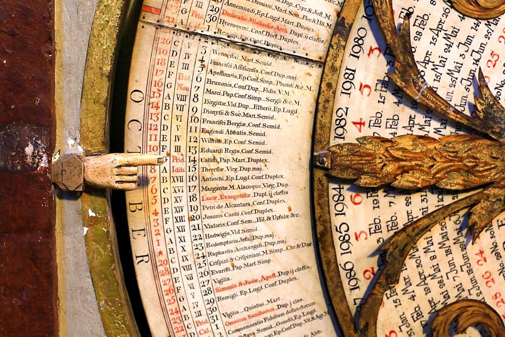 Calendar, astronomical clock of St. John, Lyon Cathedral, Lyon, France, Europe