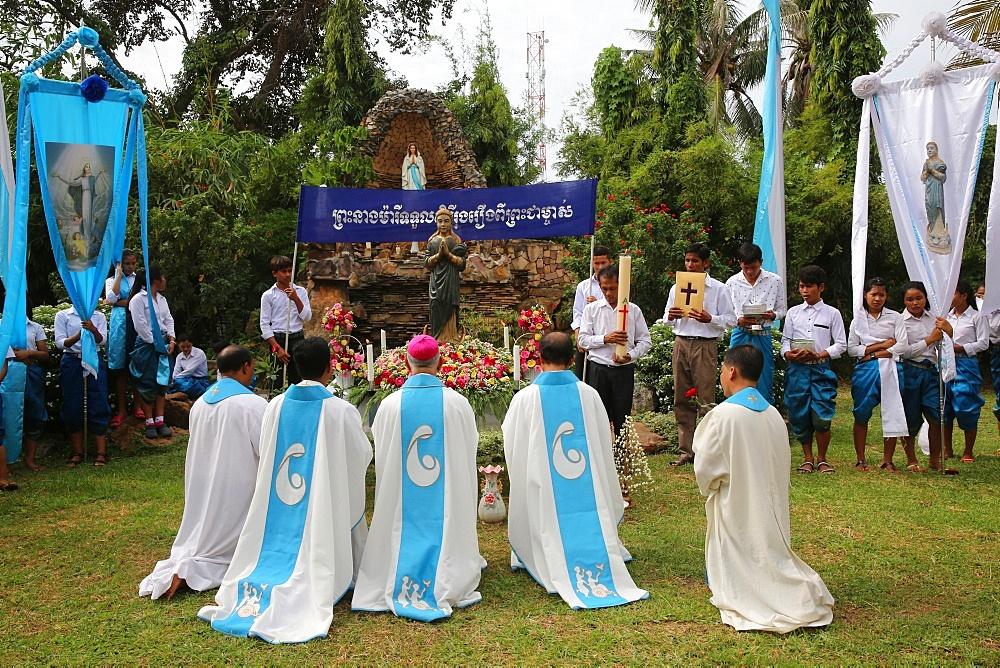 Assumption celebration outside Battambang catholic church, Battambang. Cambodia.