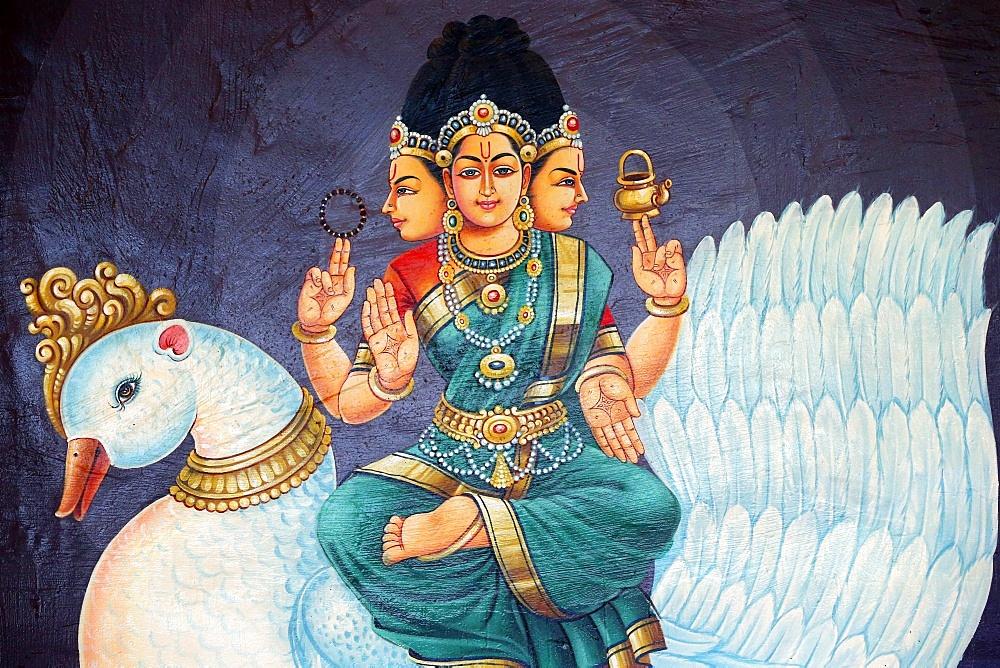 Sri Bramhi, Hindu deity, Sri Mariamman Hindu temple, Singapore, Southeast Asia, Asia