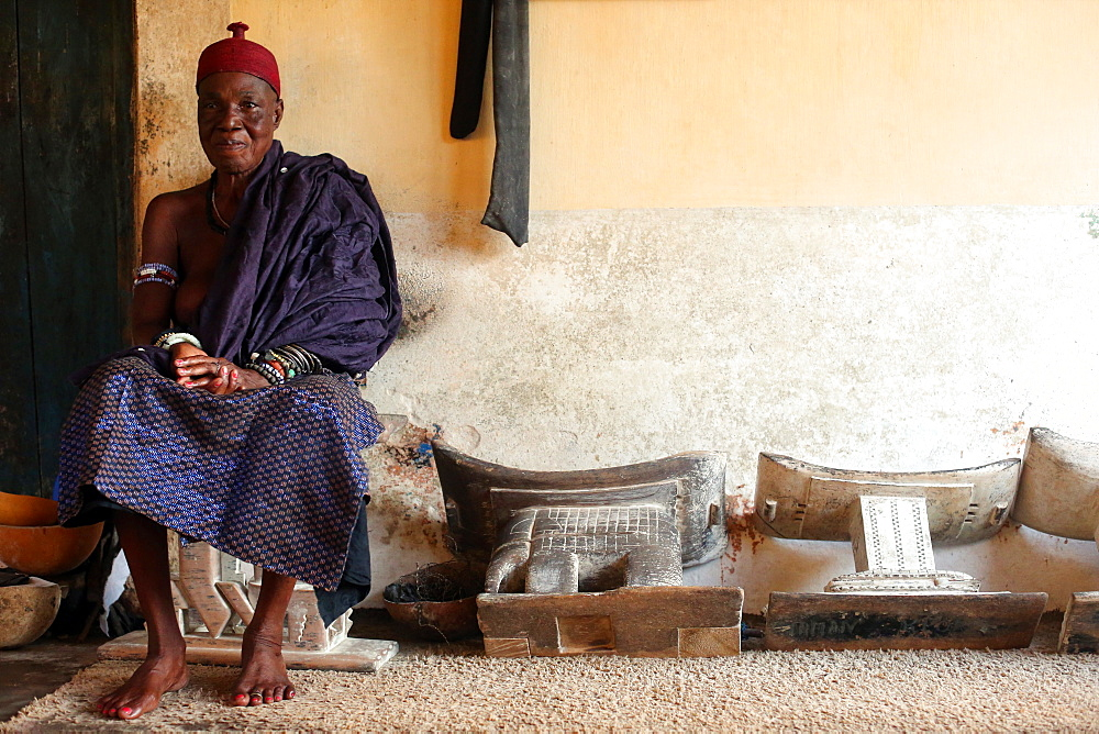 Old Voodoo priestess in her convent, Togoville, Togo, West Africa, Africa