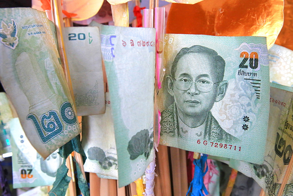 Bank notes as offerings, Bangkok, Thailand, Southeast Asia, Asia