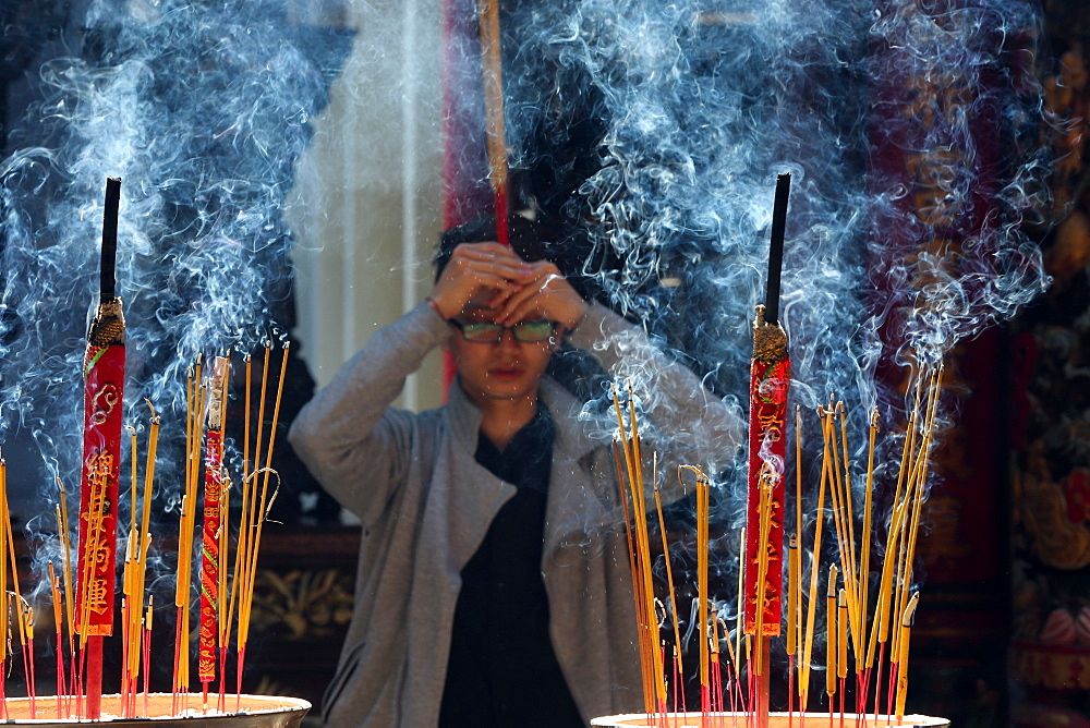 Incense sticks, Taoist temple, Phuoc An Hoi Quan Pagoda, Ho Chi Minh City, Vietnam, Indochina, Southeast Asia, Asia