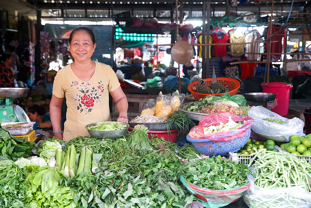 Fresh vegetables at market stall, Vung Tau, Vietnam, Indochina, Southeast Asia, Asia