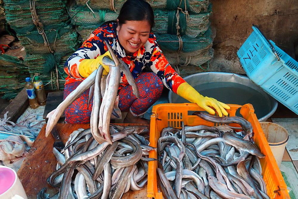 Woman sorting through fresh catch of fish, Vung Tau fish market, Vietnam, Indochina, Southeast Asia, Asia