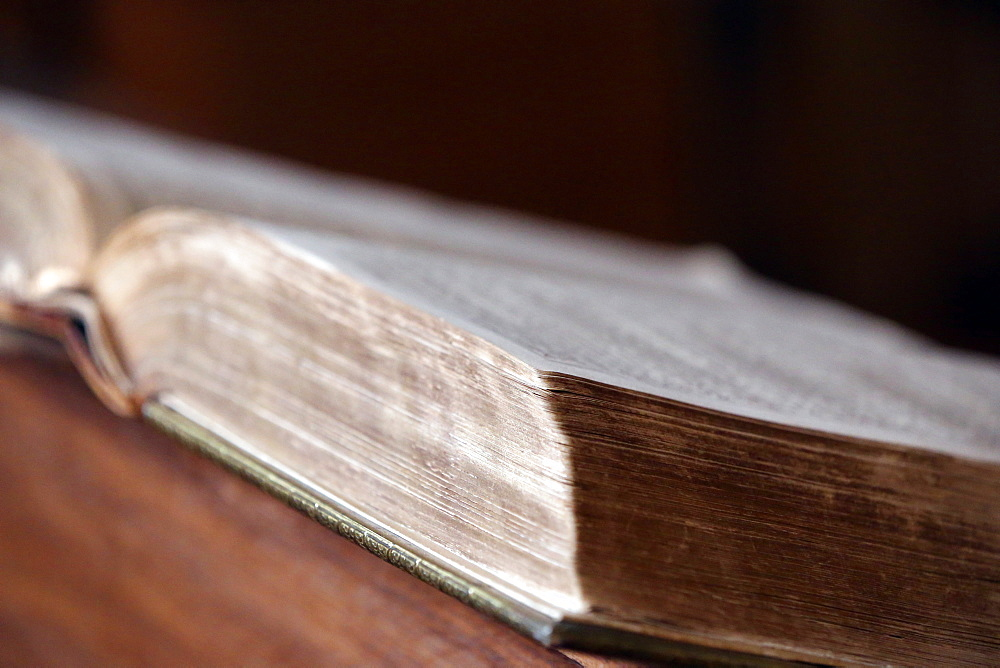 Old Bible in English, Calvin Auditory, Geneva, Switzerland, Europe