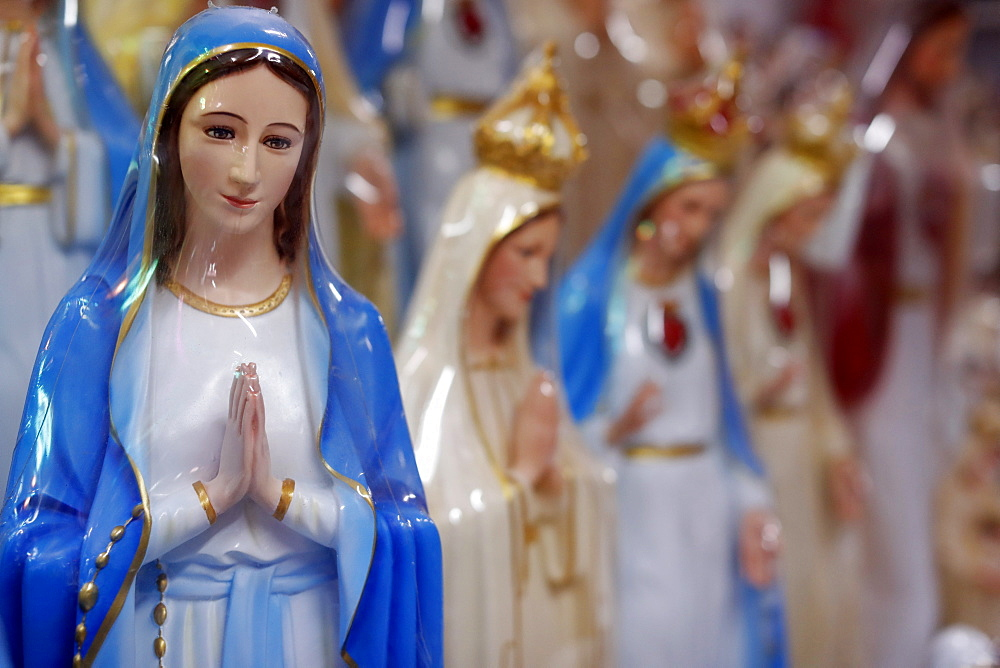 Shop selling religious Christian items including Holy Virgin statues, Ho Chi Minh City, Vietnam, Indochina, Southeast Asia, Asia