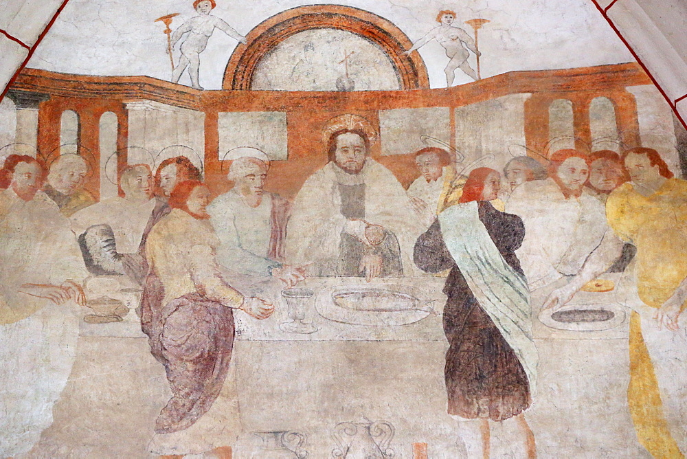 A 16th century wall painting of Christ in his Passion, the Last Supper shared by Jesus and his disciples, Vault de Lugny Church, Yonne, France, Europe
