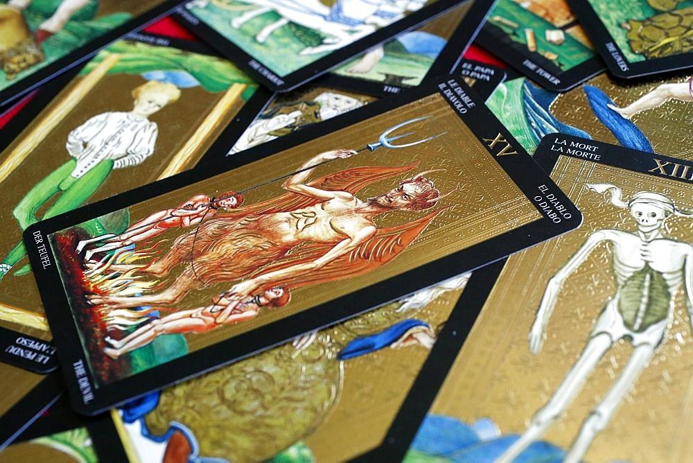 The devil, tarot card, Haute-Savoie, France, Europe