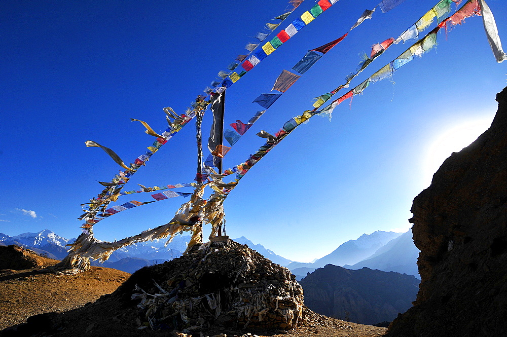 Prayer flags, Mustang, Nepal, Himalayas, Asia