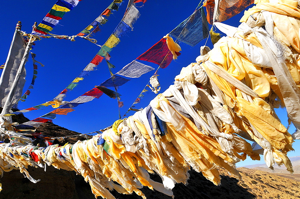 Buddhist prayer flags, Mustang, Nepal, Himalayas, Asia