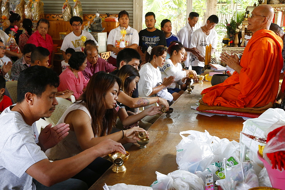Khao Pansa celebration at Wat Ampharam, Hua Hin. Puja. Thailand.