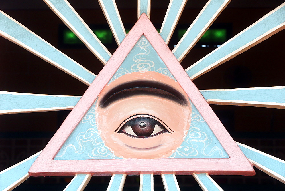 The Divine Eye, sacred symbol of Caodaism, Cao Dai Holy See Temple, Tay Ninh, Vietnam, Indochina, Southeast Asia, Asia