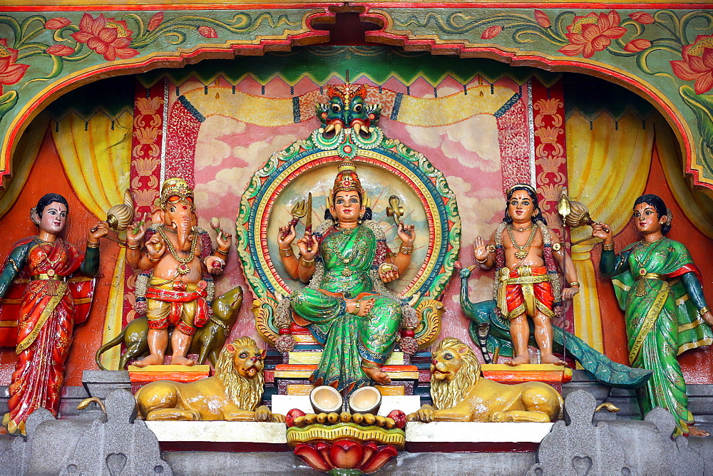 Hindu Gods Ganesh, Shiva and Durga, Mariamman Hindu Temple, Ho Chi Minh City, Vietnam, Indochina, Southeast Asia, Asia