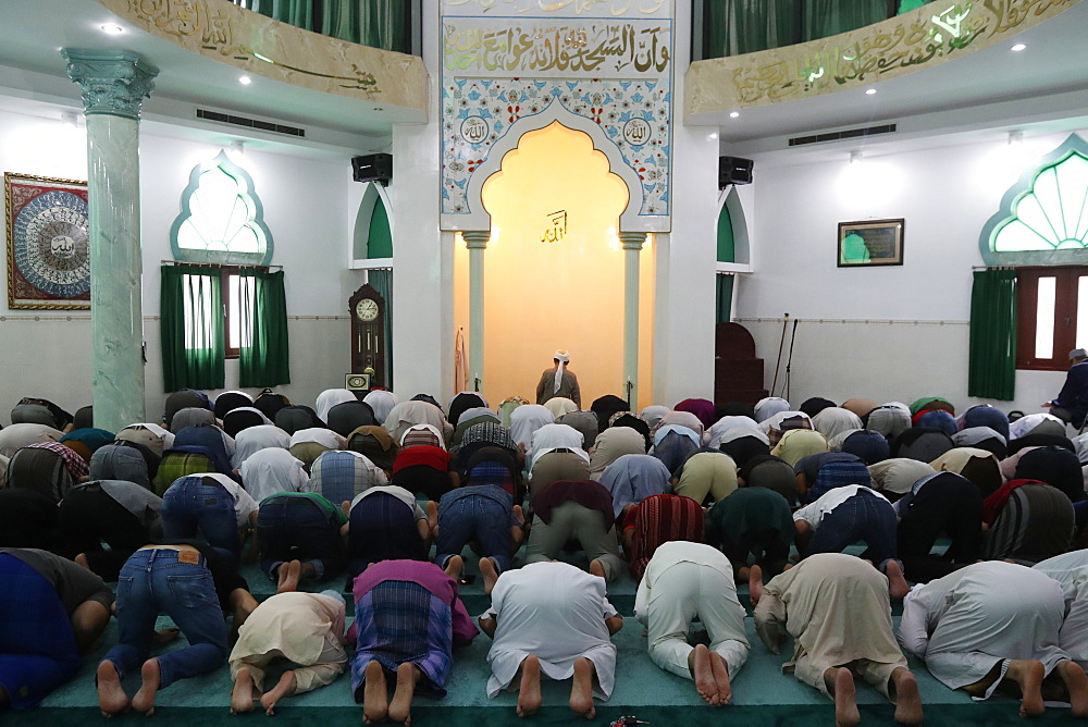 Masjid Al Rahim Mosque. The friday prayer (salat). Muslim men praying. Ho Chi Minh City. Vietnam.