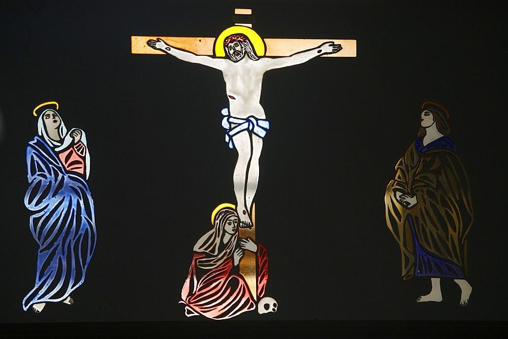 Jesus on the cross, St. Anthony Coptic church, Jerusalem, Israel, Middle East