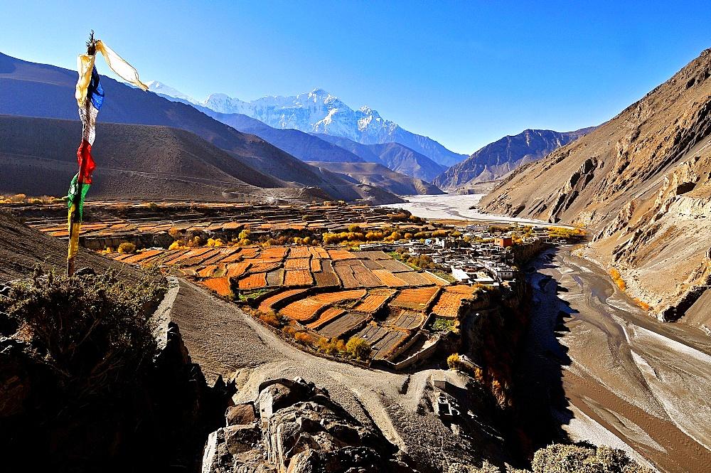 Kagbeni village and Kali Gandaki River, Mustang, Nepal, Himalayas, Asia - 809-7295