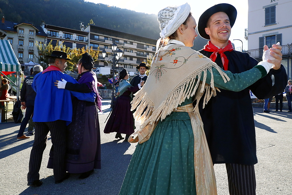 Savoyard folk dance with the cast of Chamochire, the agriculture fair (Comice Agricole) of Saint-Gervais-les-Bains, Haute Savoie, France, Europe