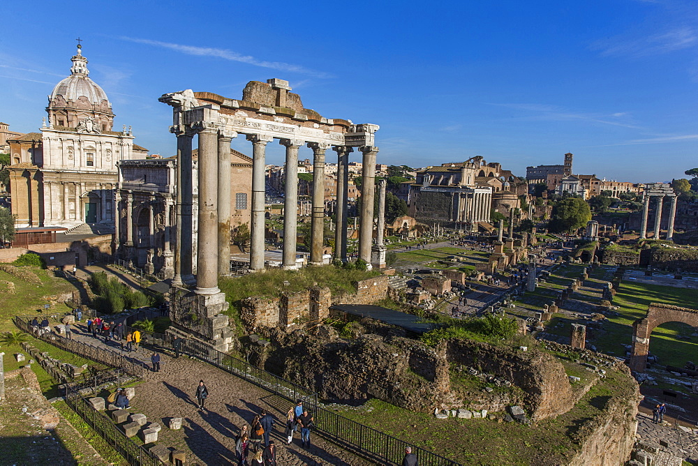 Saturn's Temple, Roman Forum, UNESCO World Heritage Site, Rome, Lazio, Italy, Europe