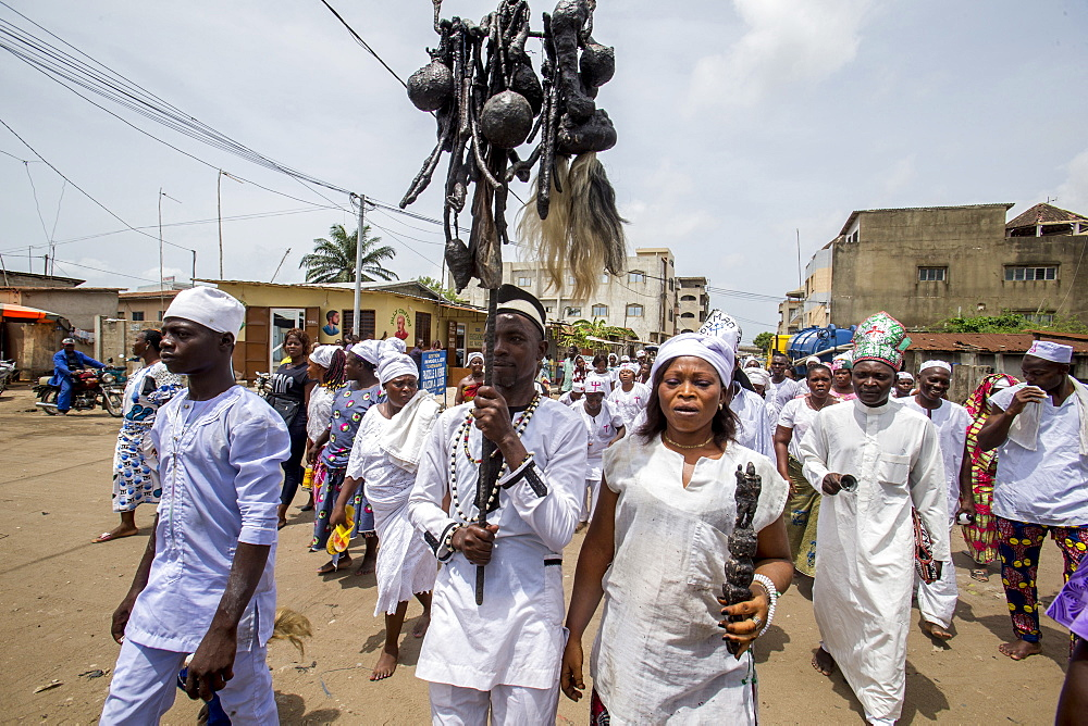 Voodoo cult in Cotonou, Benin. Procession.