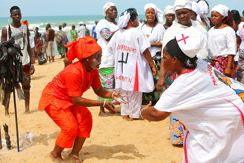 Voodoo cult on a beach in Cotonou, Benin.