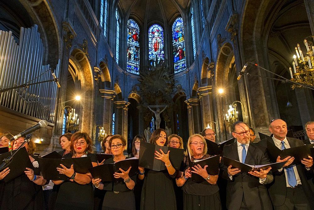 Jewish Choir, Nuit Sacree en l'Eglise Saint-Merry, Paris, France, Europe - 809-7404