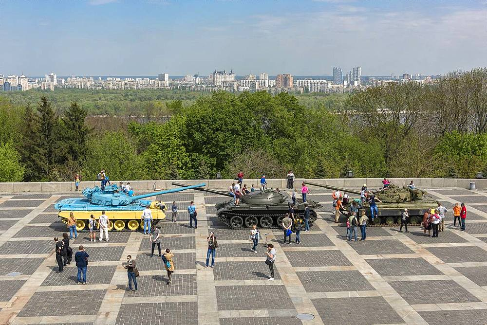 Military vehicles used in the Donbass War exhibited, Rodina Mat, Kiev, Ukraine, Europe
