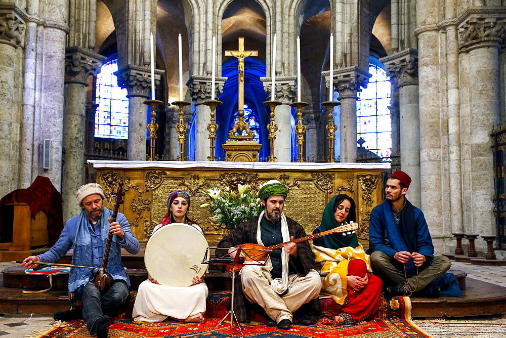 Sufi music band at Sufi Muslim wedding in St. Nicolas's Catholic church, Blois, Loir-et-Cher, France, Europe