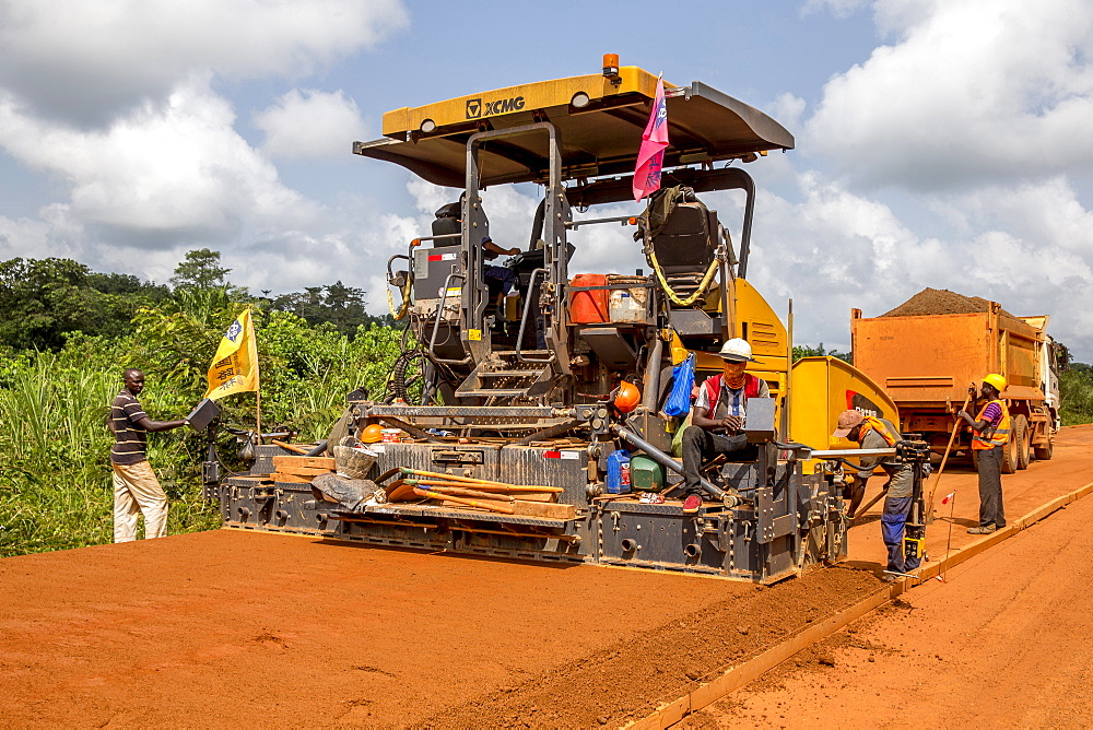 Road building engineered by a Chinese company near Agboville, Ivory Coast, West Africa, Africa