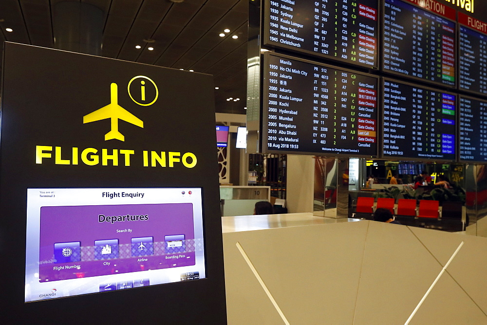 Changi Airport, Flight Info screen, Singapore, Southeast Asia, Asia - 809-7627