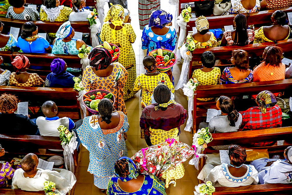 Sunday Mass in a Catholic church in Ouagadougou, Burkina Faso, West Africa, Africa - 809-7647