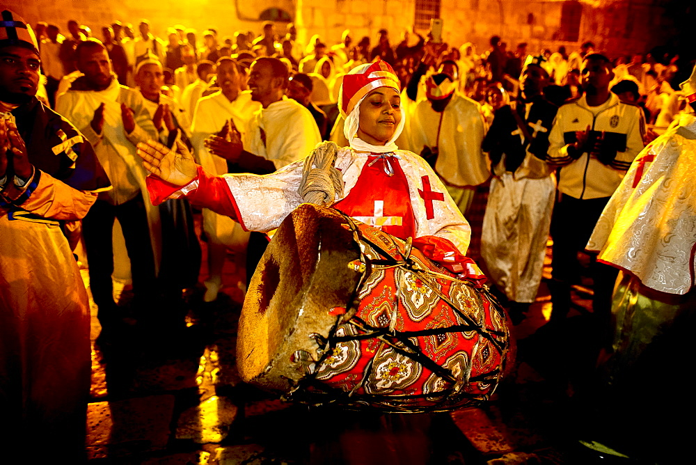 Ethiopian Orthodox Christians celebrating Easter vigil outside the Church of the Holy Sepulchre, Jerusalem, Israel, Middle East - 809-7658