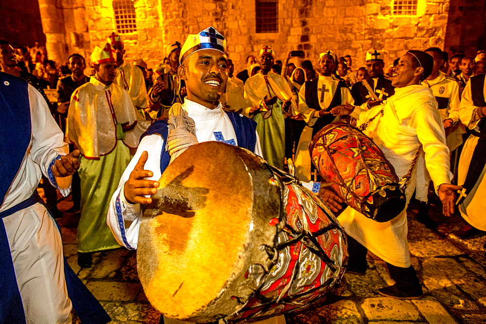 Ethiopian Orthodox Christians celebrating Easter vigil outside the Church of the Holy Sepulchre, Jerusalem, Israel, Middle East - 809-7659