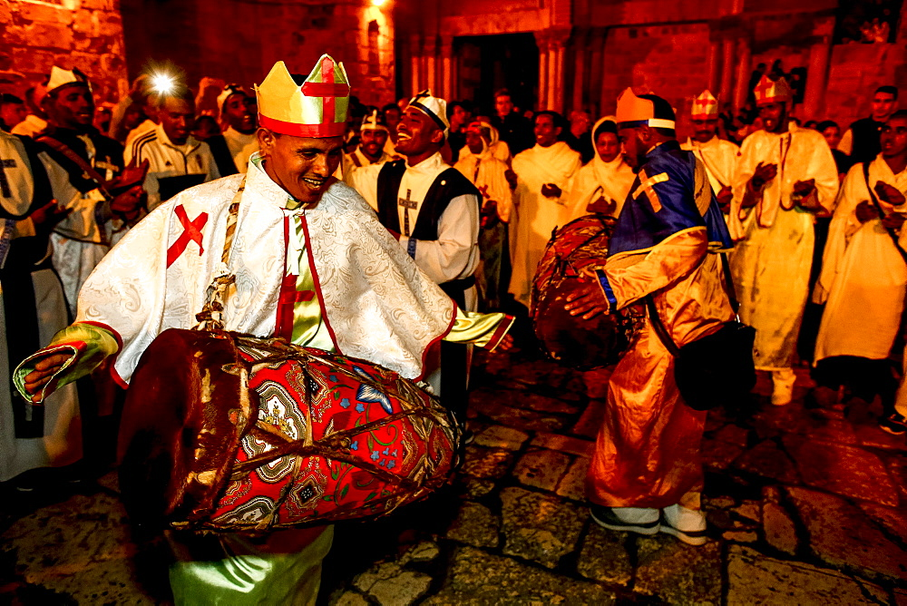 Ethiopian Orthodox Christians celebrating Easter, vigil outside the Church of the Holy Sepulchre, Jerusalem, Israel, Middle East - 809-7664