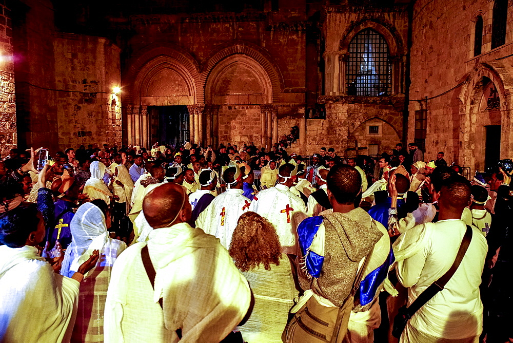 Ethiopian Orthodox Christians celebrating Easter, vigil outside the Church of the Holy Sepulchre, Jerusalem, Israel, Middle East