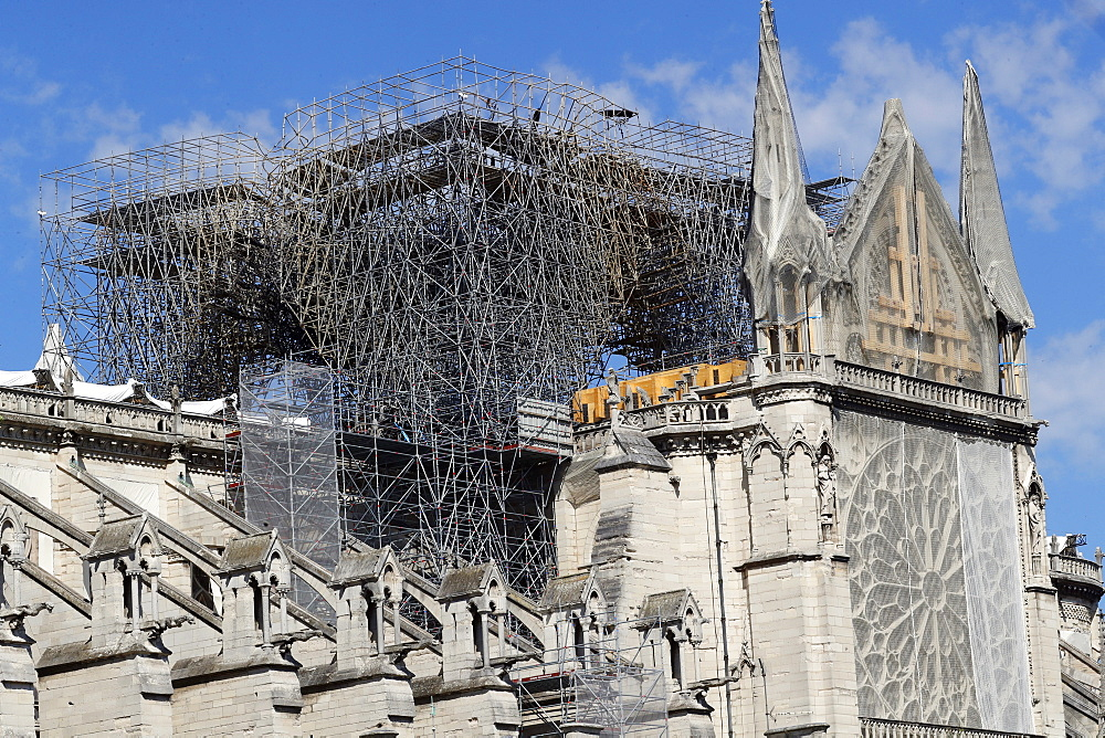 Consolidation work after the fire, Notre Dame de Paris Cathedral, Paris, France, Europe