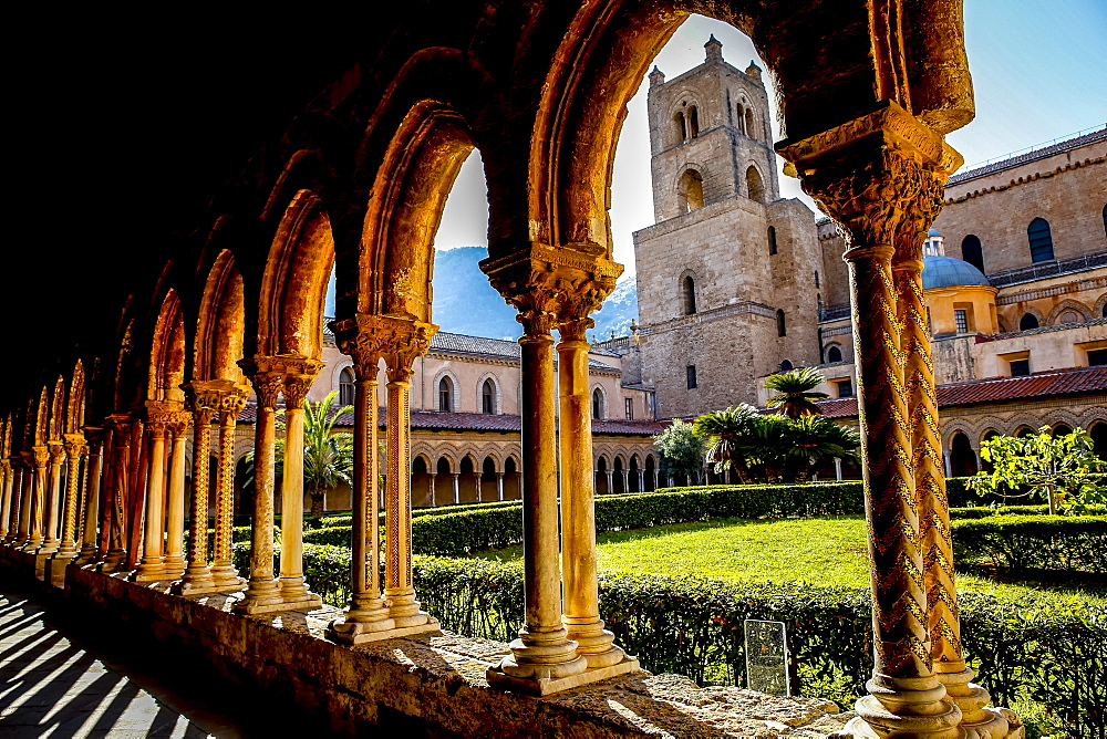 Santa Maria Nuova Cathedral cloister and South Tower, Monreale, Sicily, Italy, Europe
