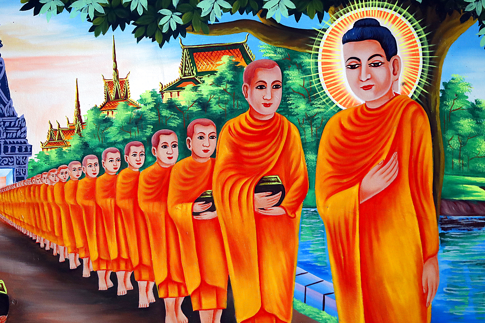 The Life of the Buddha, Siddhartha Gautama, mural showing a visit to Rajagaha City, where the Buddha went for alms, Chau Doc, An Giang, Vietnam, Indochina, Southeast Asia, Asia