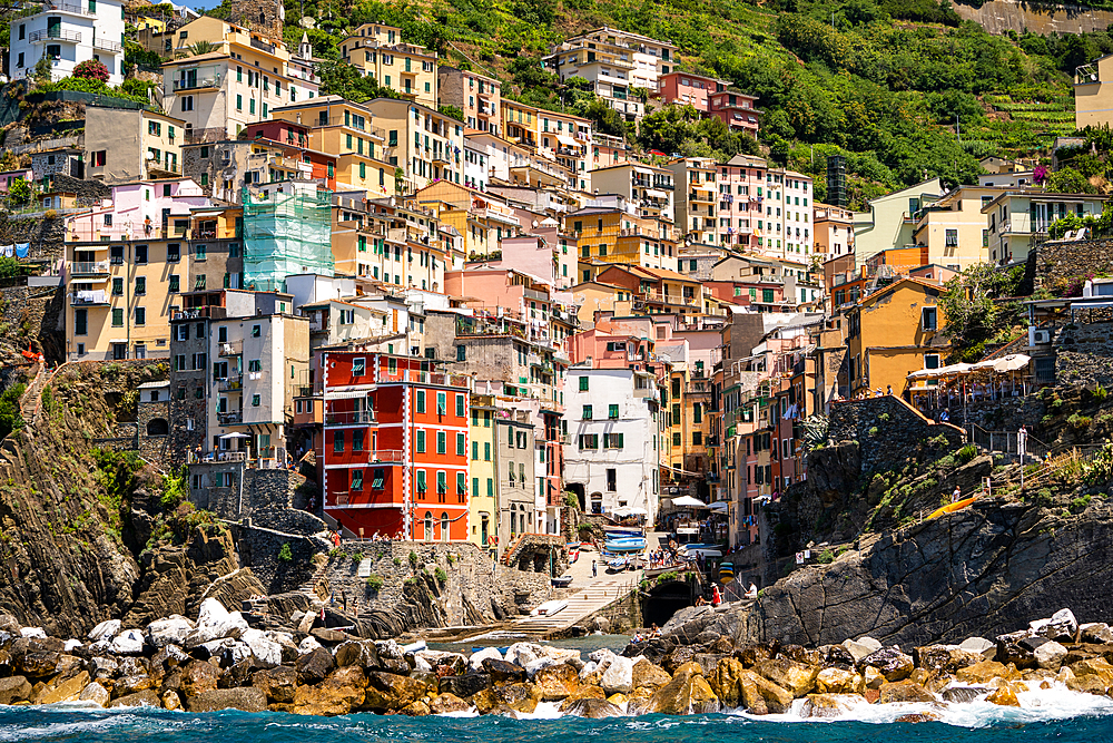 Riomaggiore village, Cinque Terre, UNESCO World Heritage Site, Liguria, Italy, Europe