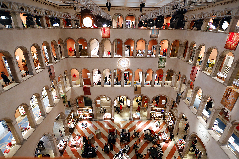 The luxury shopping center Fondaco dei Tedeschi. Venice. Italy.