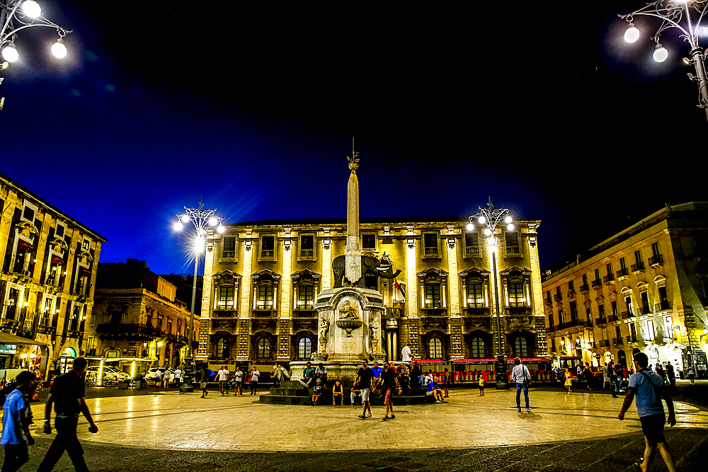 Piazza Duomo at night, Catania, Sicily, Italy, Mediterranean, Europe