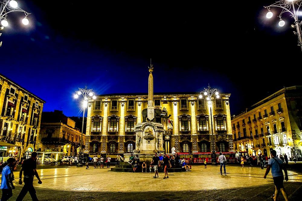 Piazza Duomo at night, Catania, Sicily, Italy.