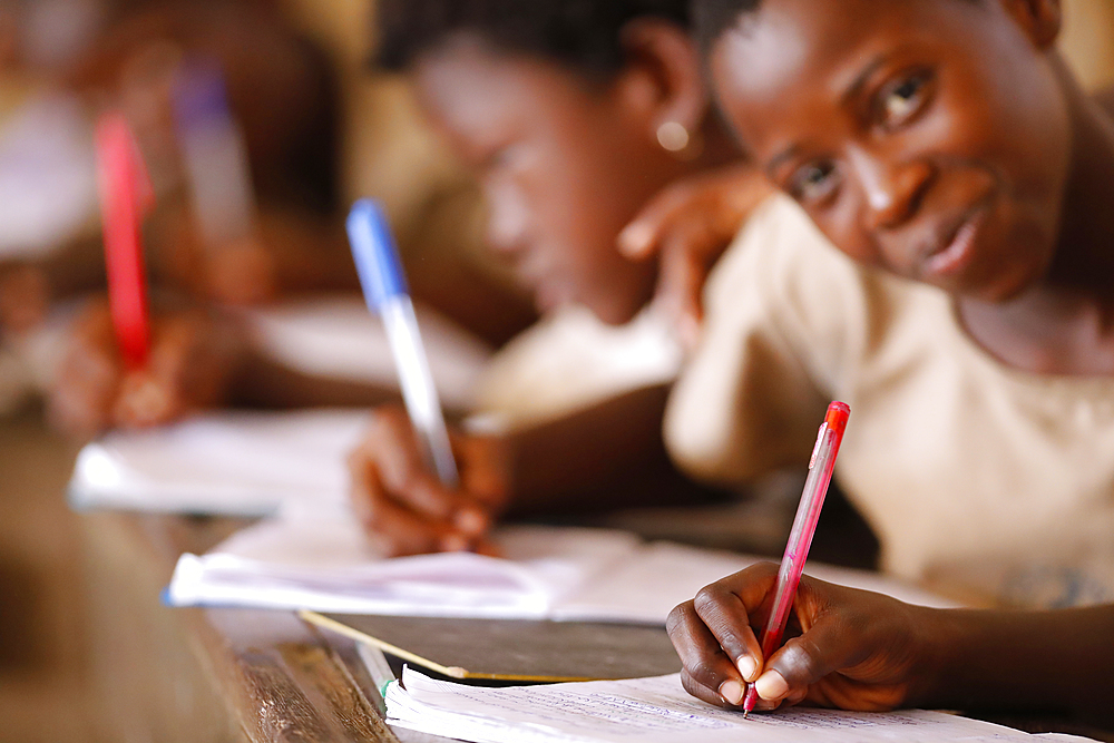 African primary school, children in the classroom, Lome, Togo, West Africa, Africa