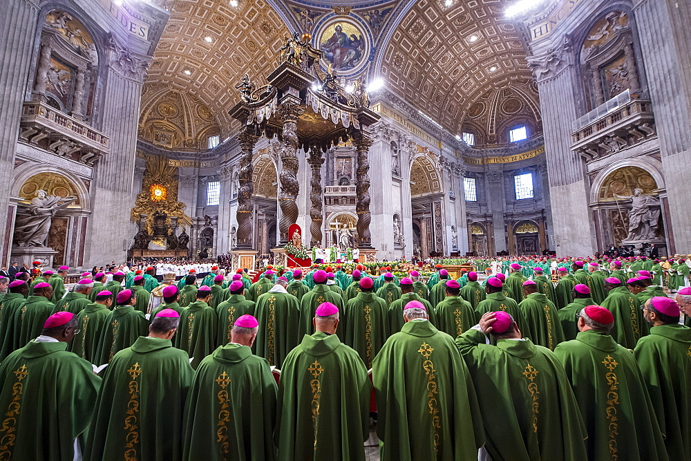 Pope Francis celebrates a closing mass at the end of the Synod of Bishops in St Peter's Basilica at the Vatican.
