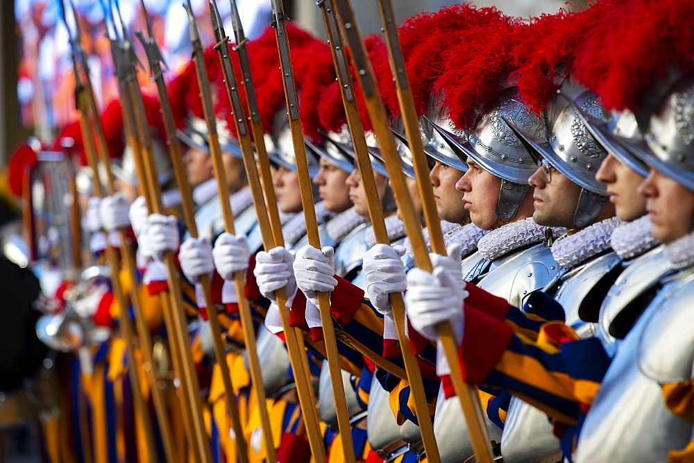 Swiss Guards attend a swearing in ceremony for the new Swiss Guards recruits in San Damaso Courtyard in Vatican City, Rome, Lazio, Italy, Europe - 809-7899