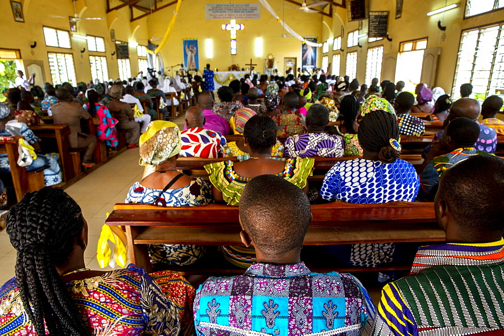 Celebration in St. John Paul II Catholic church, Kpalime, Togo, West Africa, Africa - 809-7912