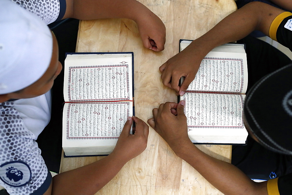 Muslim children learning Quran at Islamic school, Ho Chi Minh City, Vietnam, Indochina, Southeast Asia, Asia