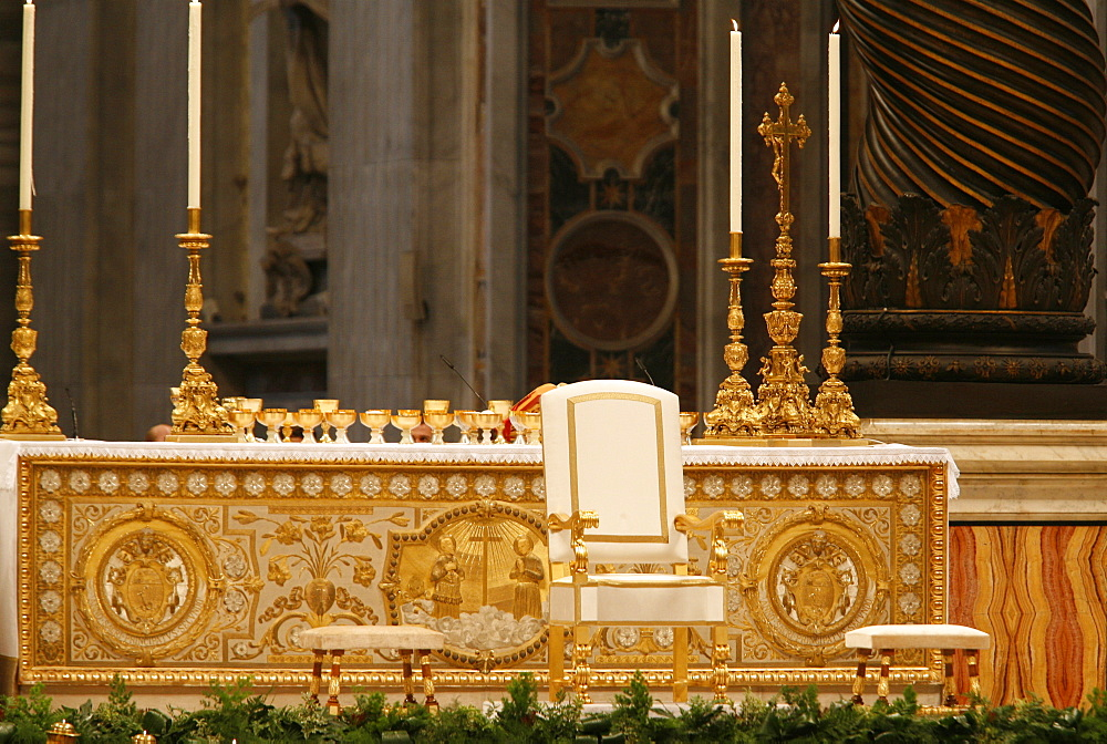 Throne and altar in St. Peter's Basilica, Vatican, Rome, Lazio, Italy, Europe
