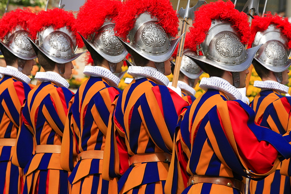 Swiss guards parading, Vatican, Rome, Lazio, Italy, Europe - 809-818